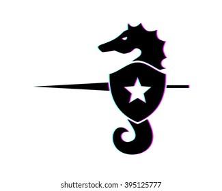 seahorses knight nautical aquatic image vector