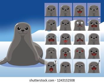 Seal Cartoon Emotion faces Vector Illustration