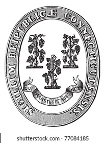 Seal of Connecticut, vintage engraving. Old engraved illustration of the Seal of Connecticut. Trousset encyclopedia.