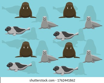 Seal Crabeater Harp Walrus Vector Seamless Background Wallpaper-01