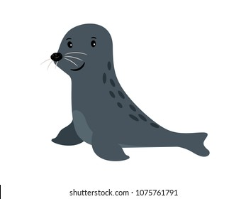 Seal cute sea animal icon isolated on white, vector illustration