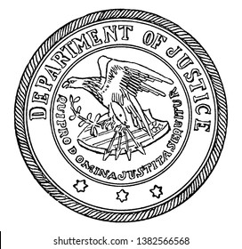 The seal of the Department of Justice of the United States, this circle shape seal shows eagle holding arrows and branch of tree, shield, stars, DEPARTMENT OF JUSTICE written on seal, vintage