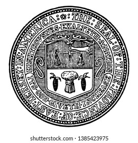 The seal of the eastern part of the New Jersey colony, this circle shape seal has a balance scale hanging with the help of right hand, below that two verticle corns and in middle a sheaf, vintage