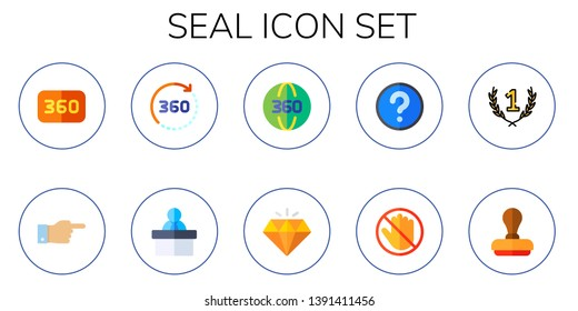seal icon set. 10 flat seal icons.  Simple modern icons about  - degrees, decree, information, quality, question, do not touch, first, stamp