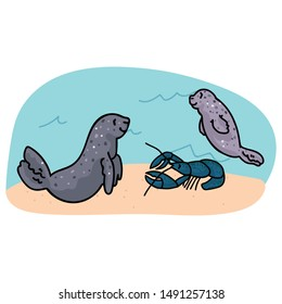 Seal and lobster underwater scene vector. Ocean sealife clipart.