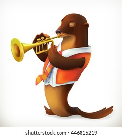 Seal playing trumpet, funny character, vector mesh