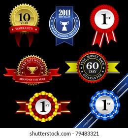 Seal Ribbon Rosette Badge Vintage Trophy Medal Winner Tag Emblem Label Banner Warranty Guarantee Gold Award