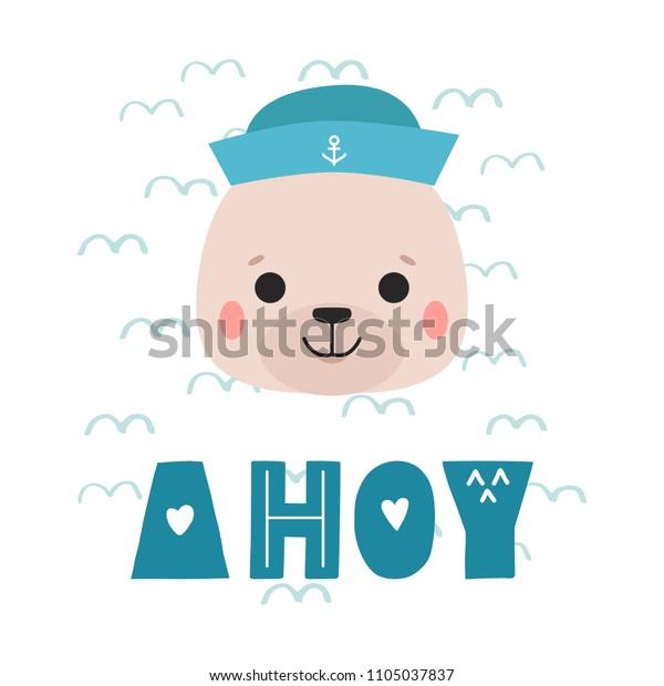 Seal Sailor Vector Cartoon Illustration Cute Stock Vector (Royalty