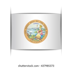 Seal of the state of California. Vector illustration of a stylized seal. The slit in the paper with shadows. Element for infographics.