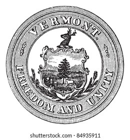 Seal of the State of Vermont, USA, vintage engraved illustration. Trousset encyclopedia (1886 - 1891).