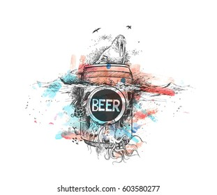 Seal with Underwater Beer - Retro Ad art banner - poster. Hand Drawn Sketch Vector illustration.