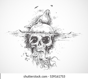 Seal with Underwater skulls -  Pirate Design poster. vector Illustration