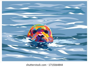 Seal in the water on pop art style for background and illustration