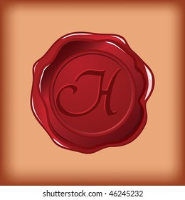 seal wax monogram of letter H