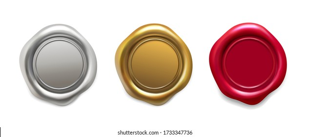 Seal wax set. Golden, silver, red wax candle stamp. Quality guaranteed logo, postage label realistic vector