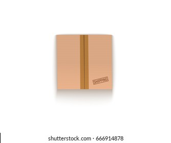 Sealed cardboard box isolated on white vector illustration