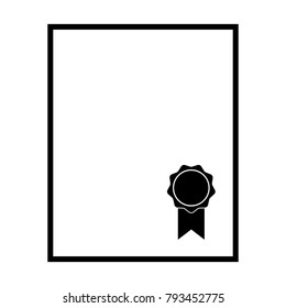 Sealed document icon. Blank official document such as certificate, diploma or ownership title with classical seal. Vector Illustration