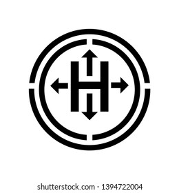 Sealed packaging sign. The letter H with four arrows inside the circle.during storage, transportation and handling, the box must not be opened