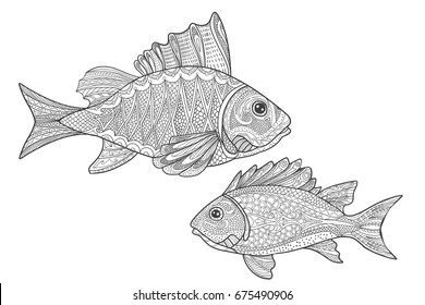 Sealife Coloring Page Fishes For Adult Book In Doodle Style