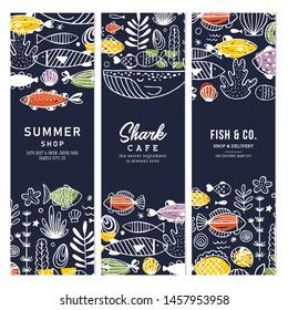 Sealife fun vertical banner collection. Linear graphic. Kid design. Scandinavian style. Vector illustration