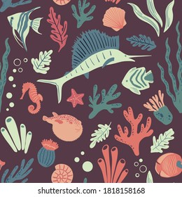 Sealife seamless pattern. Vector cartoon illustration with fish, seahorse, swordfish, puffer fish, shells, corals, seaweed. Doodle print for fabric