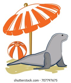 Sealion at the shore relaxing under an umbrella next to a beach ball