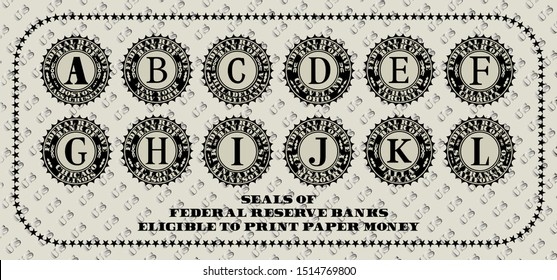 Seals of the Federal Reserve Banks eligible to print paper money