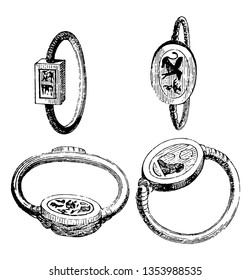 Seals and signets, It has four finger rings, seals and symbols are imposed on rings,  vintage line drawing or engraving illustration