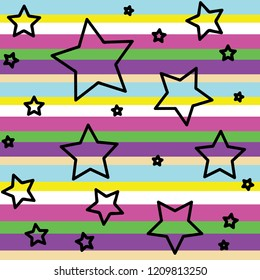 Seameless pattern with black contour stars on raindow background. Wallapaper and fabric design.