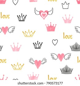 Seamess pattern with doodle crowns and hearts. Vector baby print. Little princess design
