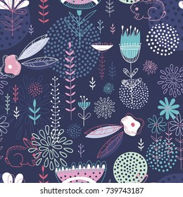 Seamles cute floral pattern on the dark blue background