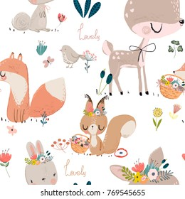 seamles pattern with cute animals