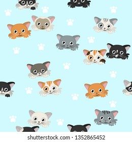 Seamles pattern with different cats heads Cute vector background with cats.