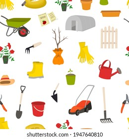 Seamles pattern with garden tools. Rake, shovel, seedling, seedling, secateurs. For icons, stickers, banners, posters, cards. To illustrate of articles, textbooks, posts, wallpaper, fabric.