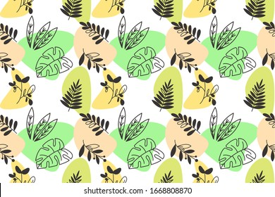 Seamles pattern of hand-drawn floral elements doodle. line art or outline botanical and abstract decoration. wallpaper use. White background