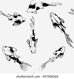 Seamles pattern with koi fish Vector background  Japanese traditional Asian background