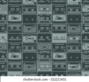 seamles pattern from old retro audio tapes