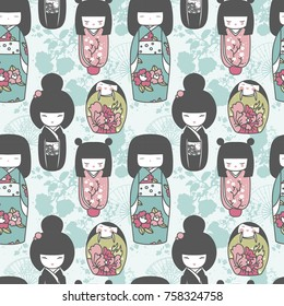 seamles pattern with traditional japanese dolls - kokeshi and sakura flowers, romantic palette, vector illustration in cartoon style