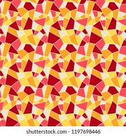 Seamles vitrage (stained-glass) pattern in hot colors of yellow, red and orange, ountlined polygonal ornamets with white outline