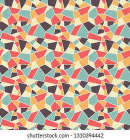 Seamles vitrage (stained-glass) pattern in retro styled colors of blue, tan, brown and orange, ountlined polygonal ornamets with white outline