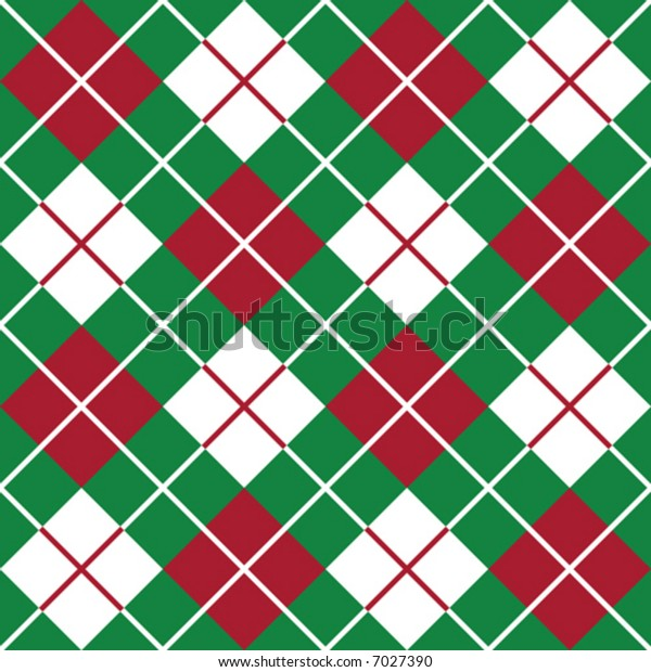 """A seamless 12"""" repeating vector argyle pattern in holiday red, green and white."""