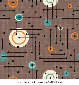 Seamless 1950s retro pattern of lines and circles for fabric design, wrapping paper, backgrounds. Linen texture overlay. Vector illustration.