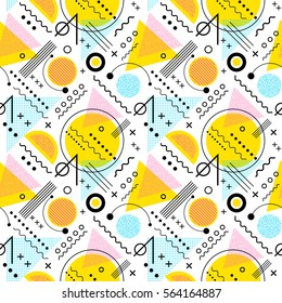 Seamless 1980s inspired graphic pattern of lines and geometric shapes. memphis style