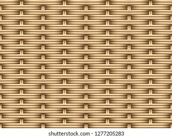 Seamless 3D Brown Rattan pattern, vector art