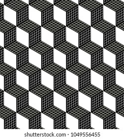 Seamless 3d Cube Pattern. Abstract Futuristic Wrapping Paper Background. Vector Regular 3d Texture. Modern Volume Geometric Design
