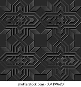 Seamless 3D elegant dark paper art pattern 020 Star Cross Frame