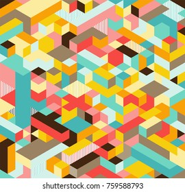 Seamless 3D isometric cub pattern,  geometric technology background.