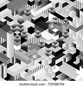 Seamless 3D isometric cub pattern,  geometric technology background.