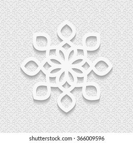 Seamless 3D pattern, white background, east ornament, indian ornament, vector