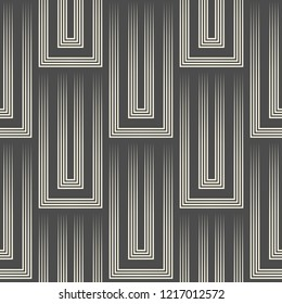 Seamless 3d Square Background. Vector Striped Pattern. Monochrome Regular Texture